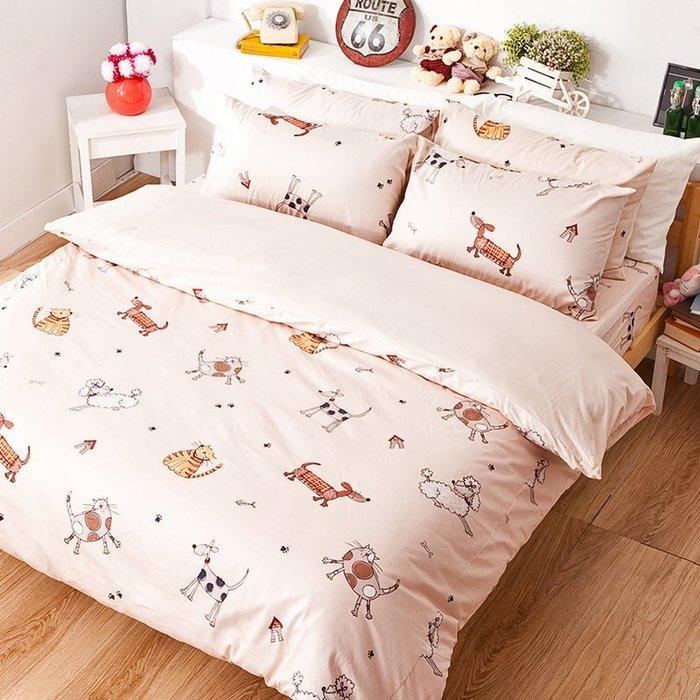 床包 / 雙人【可愛家族】雙人床包含兩枕套,100%精梳棉,台灣製造,戀家小舖P01-AAS201