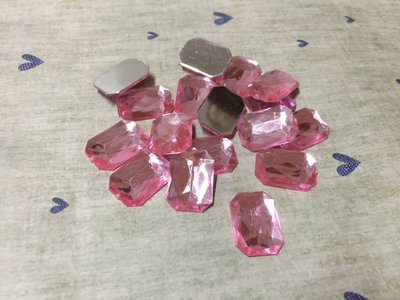 18*13mm 粉紅 長方形 造型平面鑽 DIY素材 奶油殼 貼鑽 袖珍小物 飾品材料 (現貨)