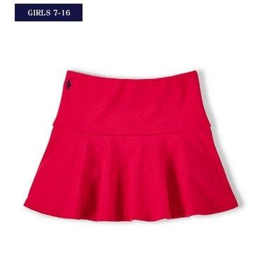 【全新正品】Ralph Lauren女童 Fit and Flare繡馬紅色彈性短裙~L