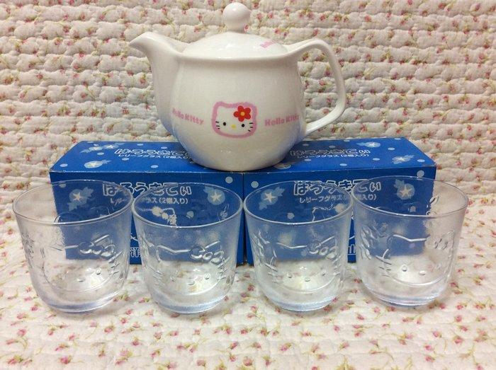 Sanrio hello kitty 立體浮雕玻璃杯+茶壺杯組《日本製.2012年商品》收藏特價出清