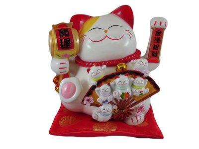 【日本貓樂堂】日本樹脂電動招財貓/五福開運雙手搖手貓 擺手貓 擺飾 招財貓 275 X