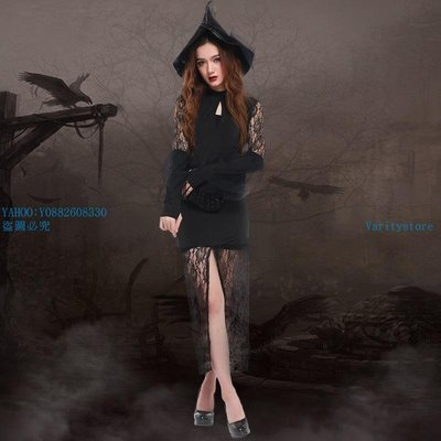 VaritystoreWith 高開叉 蕾絲性感修身女巫服 萬圣節巫婆裝 角色扮演服裝7087