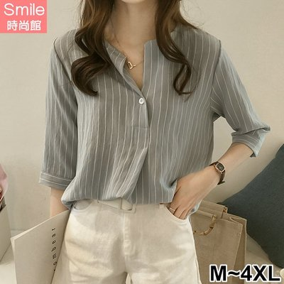 【V2588】SMILE-清清微風.V領條紋五分袖上衣