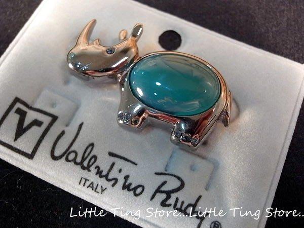 Little Ting Store:義大利古董珠寶VALENTINO (范倫鐵諾)犀牛別針鑲瑪瑙水鑽胸針別針帽針