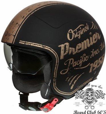 ♛大鬍子俱樂部♛ Premier ® Rocker OR 義大利 原裝 復古 哈雷 偉士牌 都會 Jet 安全帽 黑/金