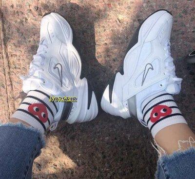 Nike Monarch M2K Tekno 復古 老爹鞋 皮革 白灰 銀 增高 厚底 女鞋 BQ3378-100