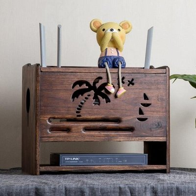 ☜男神閣☞實木無線路由器收納盒WIFI盒子機頂盒置物架插線板插排電線收納盒