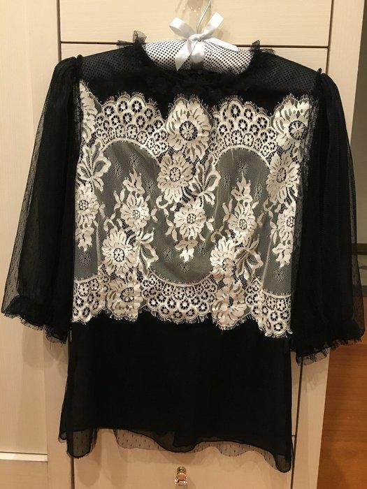 D&G款 黑白蕾絲設計款7分袖性感上衣