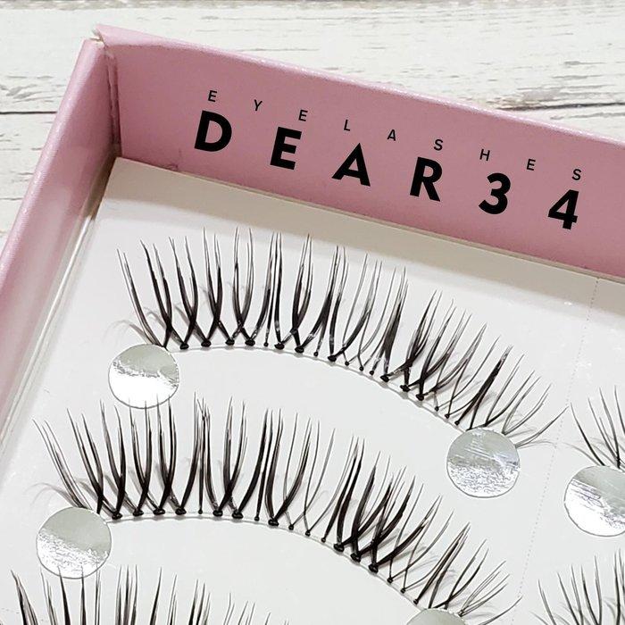 《Dear34》極細磨尖04透明梗眼尾加長V形根根分明一盒十對價