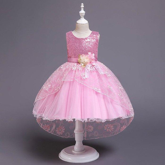 •*~ 辣媽咪衣飾小舖 ~*•❤童裝系列❤K970493韓版大童夏款甜美清新時尚蓬蓬蕾絲亮片可愛公主禮服公主洋裝