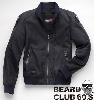 ♛大鬍子俱樂部♛ Blauer ® Indirect Textile 復古 cafe racer 哈雷 夾克 防摔衣 藍