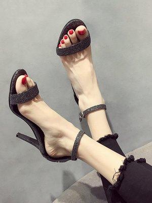 小尤家~網紅涼鞋女夏季新款韓版超火亮片露趾高跟鞋時尚百搭仙女鞋潮