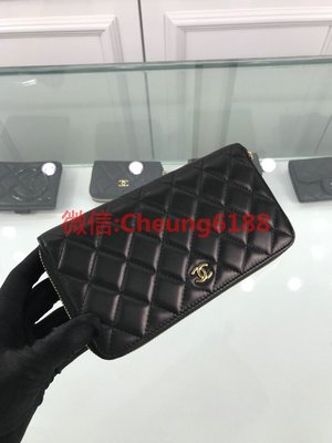 頂級 Chanel 50097 黑色羊皮 銀扣 10咭片位 拉鏈銀包 19.4x10.4x2cm