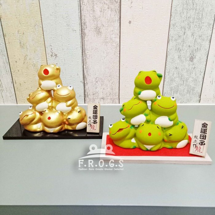 F.R.O.G.S AA0111(現貨)日本進口京都純手工陶土龍虎作堂三層青蛙金團丸子造型擺件禮品擺設裝飾品手工藝