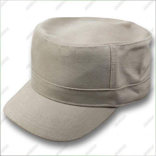 【ARMYGO】軍風流行圓頂帽- 素面米色款
