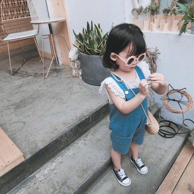 中小童 女童牛仔吊帶短褲 開檔褲型 寶寶上廁所神器#1308