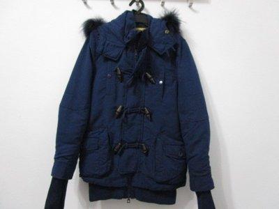 爆冷降 日本SLY N3B 2016牛角釦深藍貉子毛連帽外套 背心可拆 1號短版