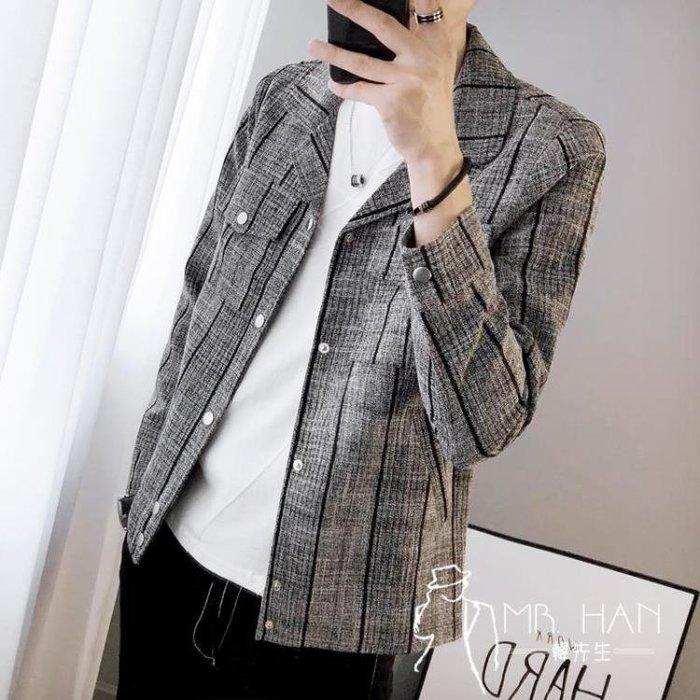 西裝外套  春秋季新款夾克男士韓版修身格子上衣潮流青年百搭薄款帥氣外套男
