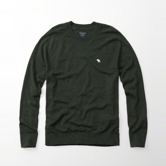 美國百分百【Abercrombie & Fitch】針織衫 AF 毛衣 麋鹿 圓領 羊毛 線衫 復古綠 H405