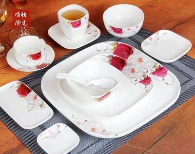 【優上精品】酒店擺台餐具陶瓷套裝 玫瑰花邊金花邊高檔陶瓷餐具套裝(Z-P3228)