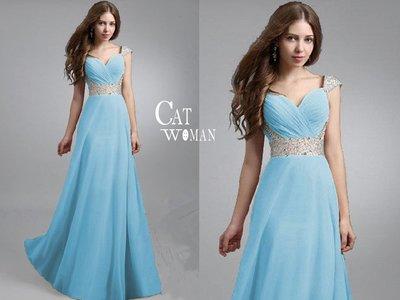 CAT WOMAN GLnb18d-7138歐美時尚珠片拼接長裙晚禮服-粉色下標區-現貨喔!