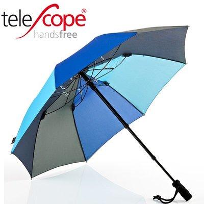 德國[EuroSCHIRM] 全世界最強雨傘 TELESCOPE HANDSFREE / 免持健行傘 小(灰藍)