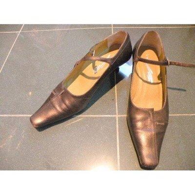 85%新【Le Saunda】金屬啡色真皮 尖頭 高跟鞋 (1.5寸高,36號,10寸長) Real Leather 原價$450