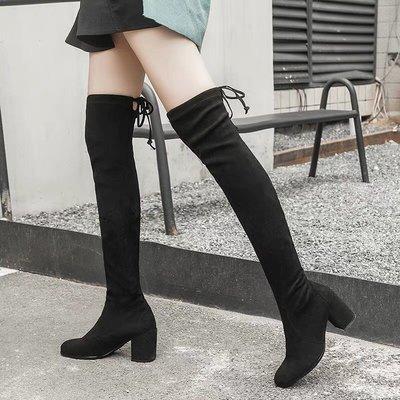 【黑店】訂製款不掉筒後綁帶膝上靴 粗跟...