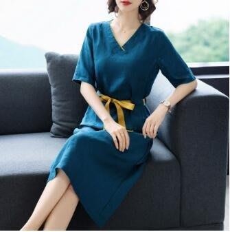 棉麻洋裝 棉麻連身裙女夏中長款2020夏款新款苧麻高端韓版寬鬆裙子大碼女裝 站CXZJ