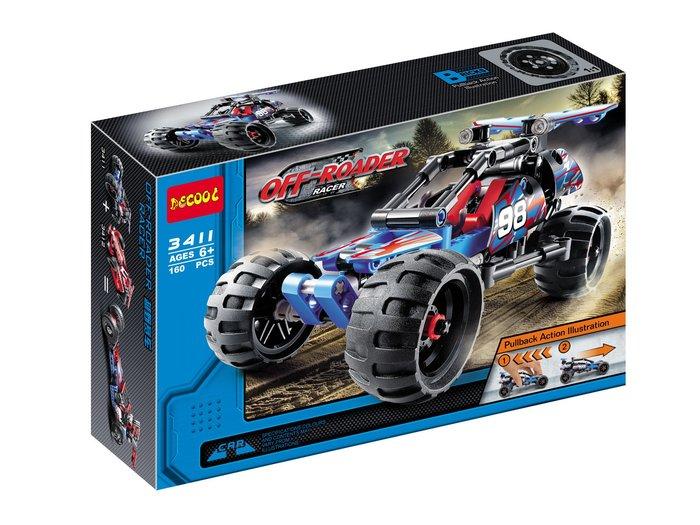 ☆ 恩祐小舖-正版 得高 3411~3414 科技系列 炫紅賽車 具回力功能 (與3411可合體) 【Lego系列】