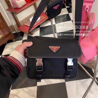 全新正品 PRADA 2VD034 黑色紅鐵牌 經典 雙釦式小書包 三合一 HOBO包 系列 尼龍帆布+皮革肩帶