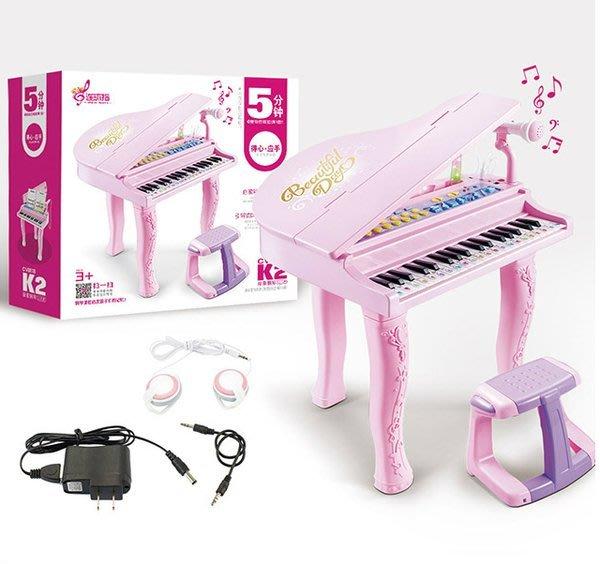 連環指K2兒童仿真電子鋼琴~粉色~仿真鋼琴~附琴椅+麥克風+耳機+彩色練習樂譜+琴鍵貼紙◎童心玩具1館◎