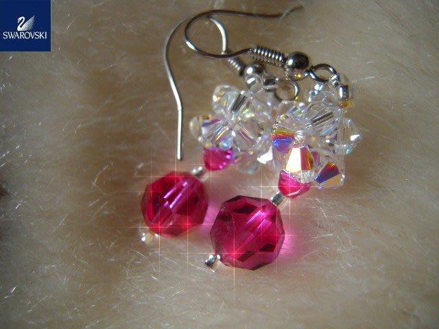 ※水晶玫瑰※ SWAROVSKI 地球珠水晶 耳勾式耳環(DD388)
