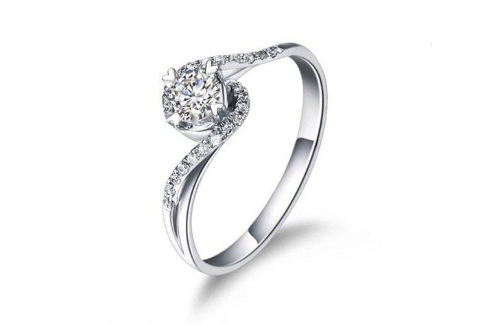 日韓時尚迴旋18K白金四爪擬真鑽戒求婚戒指结婚戒指