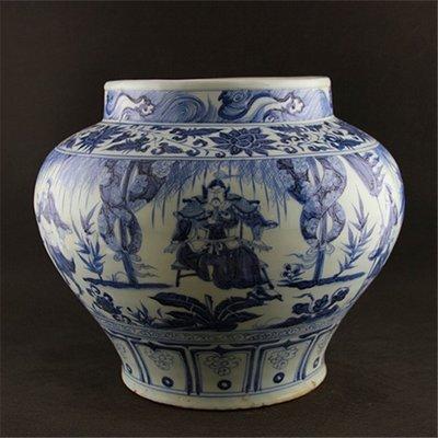 元青花手工瓷  周亞夫人物紋罐子   元代出土古瓷器 古玩古董擺件