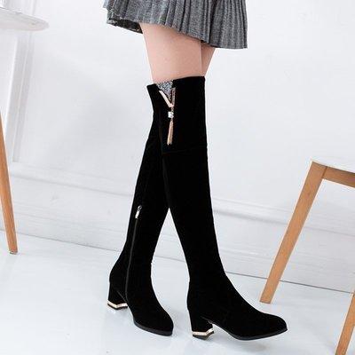 大碼女鞋~中跟過膝長熱銷靴女高跟鞋秋冬磨新砂長筒靴粗跟瘦腿側拉鏈高筒靴子大碼TY036