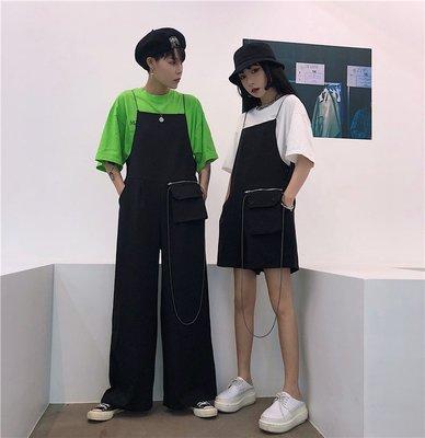 2018新款韓國ulzzang原宿風百搭寬松情侶裝學生闊腿褲 背帶褲女潮