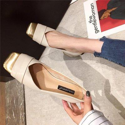 柒柒KR 正韓金屬方頭單鞋女2019春季新款時尚低跟方根淺口套腳通勤上班工作鞋