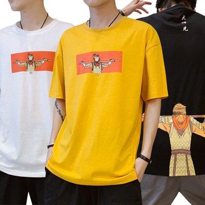 時尚男裝日系復古動漫印花短袖t恤男夏季潮流ins學生寬松圓領純棉上衣丅恤