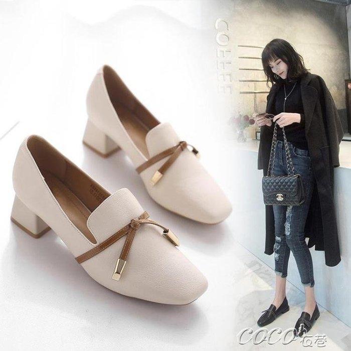 單鞋  黑色小皮鞋女生英倫風中跟粗跟單鞋秋春季韓版新款洛麗塔女鞋 新品