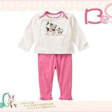 【B& G童裝】正品美國進口GYMBOREE母子貓咪圖樣貼布絨長袖上衣加長褲一組套裝6-12-18-24mos