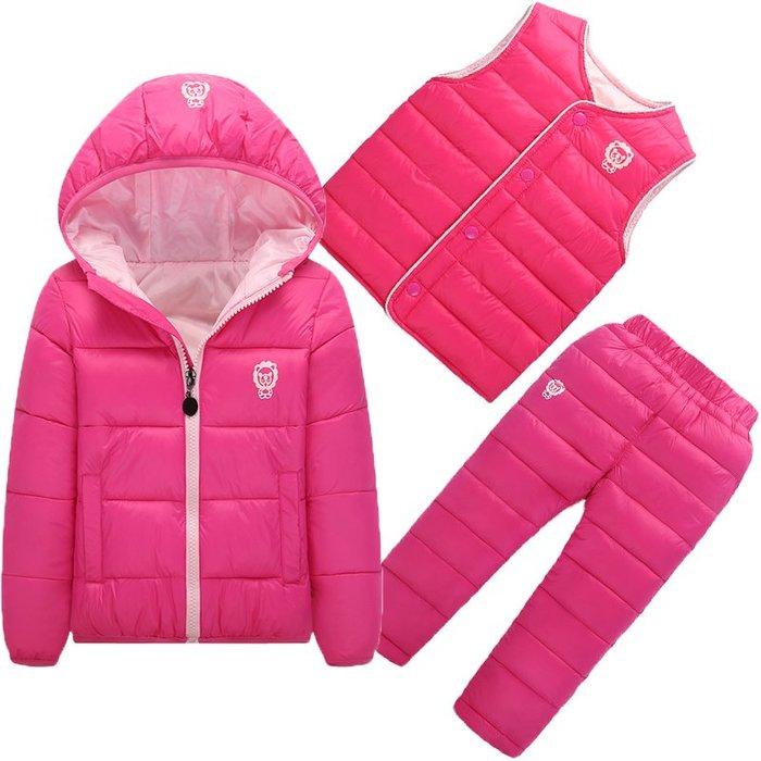 東大門平價鋪 新款嬰兒兒童棉衣套裝,寶寶加厚棉襖小童男童女童連帽羽絨外套件套
