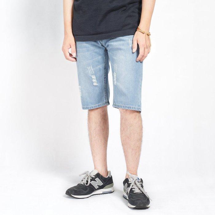 【Random】【刷色破壞牛仔短褲】水洗 古著 破壞 刷色 素面 牛仔短褲 28-34
