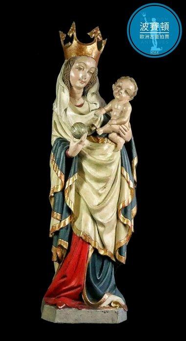 【波賽頓-歐洲古董拍賣】歐洲/西洋古董 西班牙古董 19世紀 大型彩繪木雕 聖母瑪利亞(高度77cm)(年份:約1900-1930年)