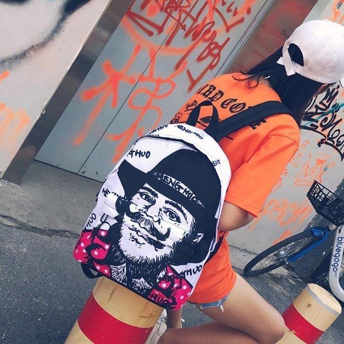 ☜男神閣☞時尚街頭潮流雙肩背包女正韓 原宿ulzzang學生書包男個性印花涂鴉