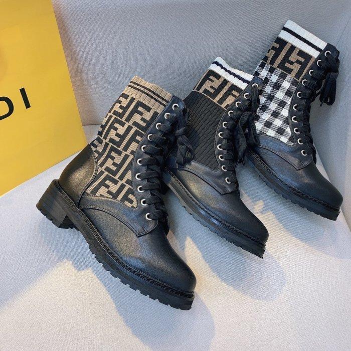F芬家秋冬新款彈力襪子短靴 馬丁靴FF字母系帶女靴