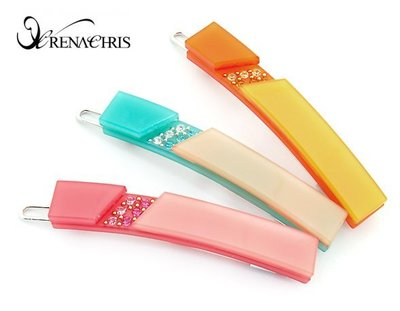 BHI1107-法國品牌RenaChris 施華洛世奇晶鑽方塊髮夾 邊夾 扣夾【韓國製】
