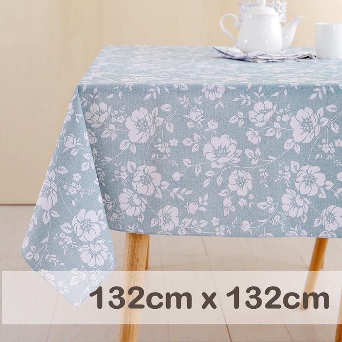 CasaBella美麗家居 | 防水 桌巾 水藍洋桔梗 132x132cm | 桌布 野餐 餐墊 露營