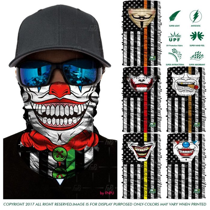 奇奇店-小丑骷髏戶外大胡子登山男女v字仇殺隊面具圍脖套3D魔術頭巾