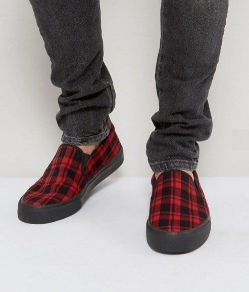 ◎美國代買◎ASOS紅黑格子印花鞋面黑鞋底的雅痞休閒風無鞋帶loafer休閒鞋~歐美街風~大尺碼~男女鞋